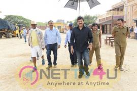 Megastar Chiranjeevi At Sardaar Gabbar Singh Shooting Location Stills