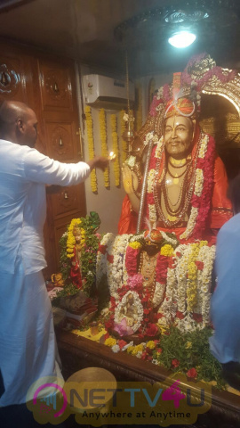 Raghava Lawrence Celebrated Shri Raghavendra Swamy Birthday In His Temple Stills