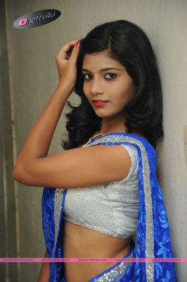 Tamil Actress Bindhu Barbi In Blue Saree Latest Pics