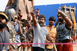 telugu movie baahubali working photos for press