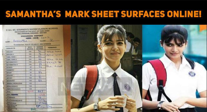 Samantha's Tenth Mark Sheet Surfaces Online!