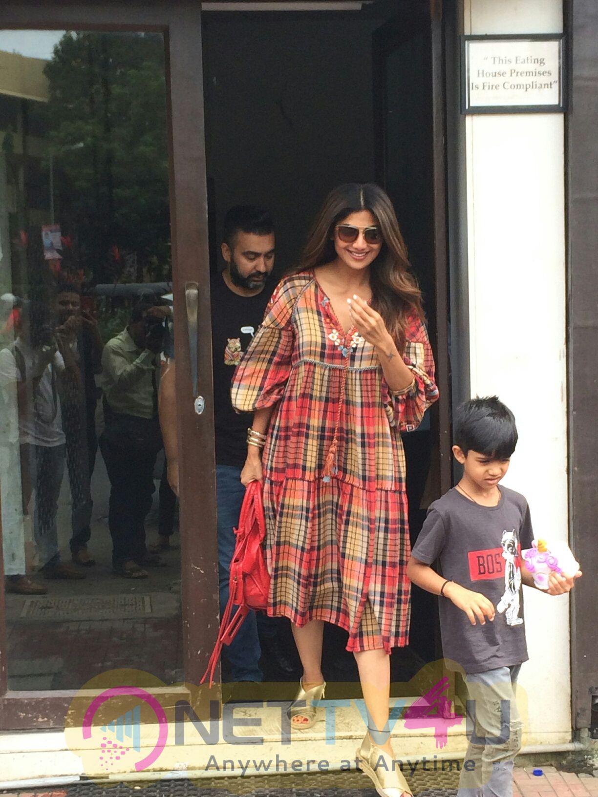 Shilpa Shetty, Raj Kundra & Son Viaan Spotted At Bastian In Bandra Images