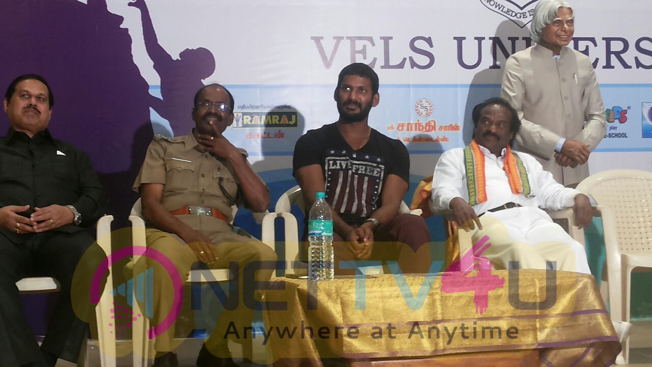 Actor Vishal Inaugurate Nesam Charitable Trust Chennai & Vels University In Kalvi Thiruvizha Photos