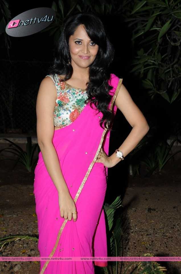 Beautiful Anchor Anasuya in Pink Saree