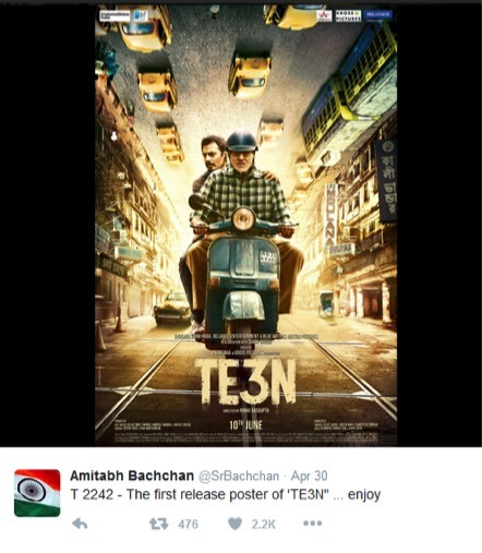 BigB Releases The First Poster Of TE3N