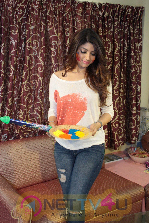 Calendar Girls Actress Akanksha Puri For Celebrates Holi Stills Hindi Gallery