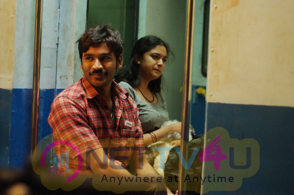 Dhanush And Keerthy Suresh In A Stills From Rail Movie