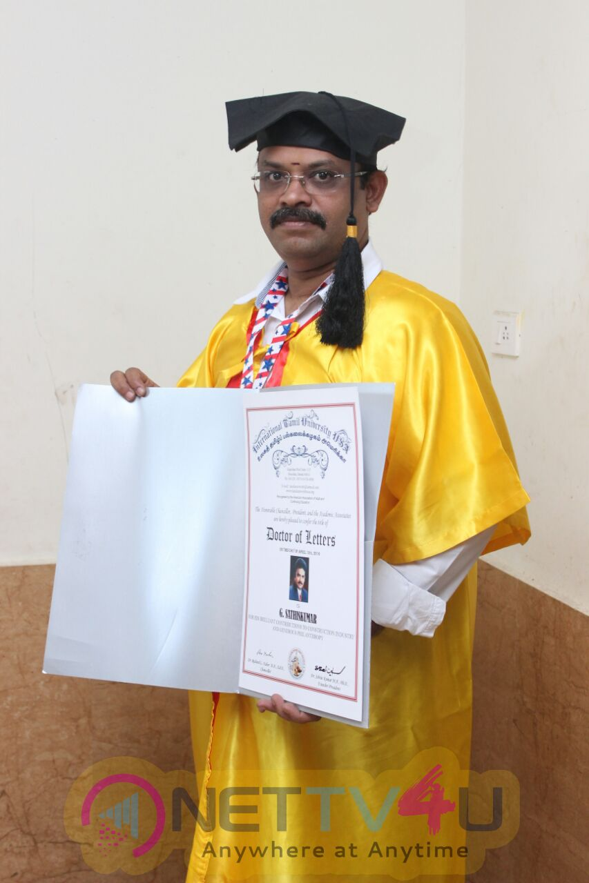 Doctorate To Eli Movie Producer G Sathiskumar By International Tamil University Usa Photos