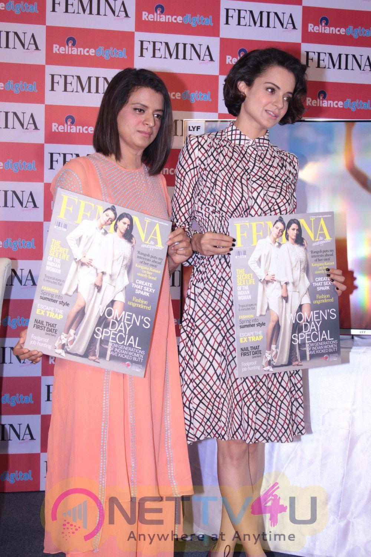 Femina Magazine Cover Launch By Kangana Ranaut & Sister Rangoli Ranaut Stills Hindi Gallery