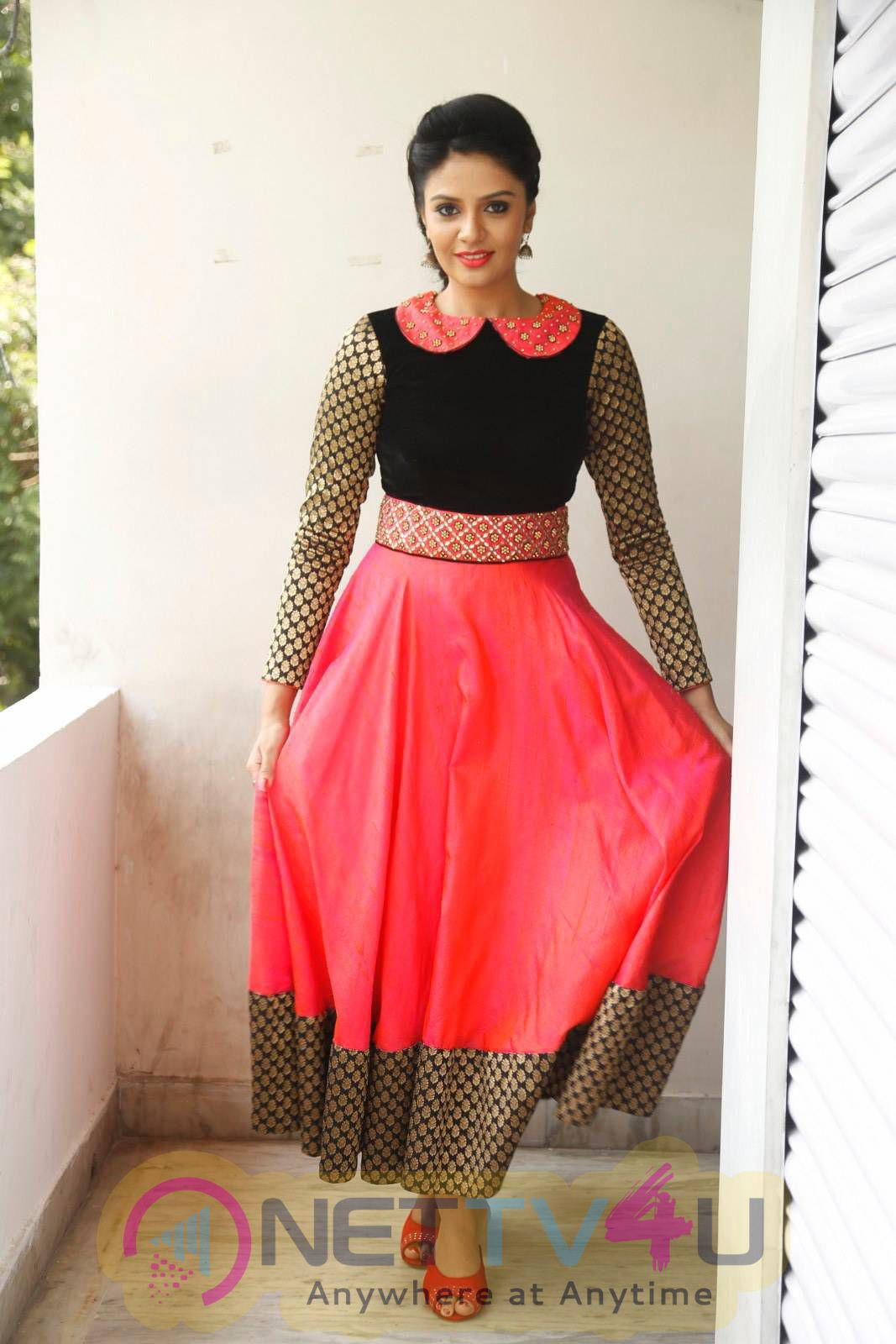 Latest Photos Of Actress Srimukhi At Dhanalakshmi Talupu Tadithey Press Meet