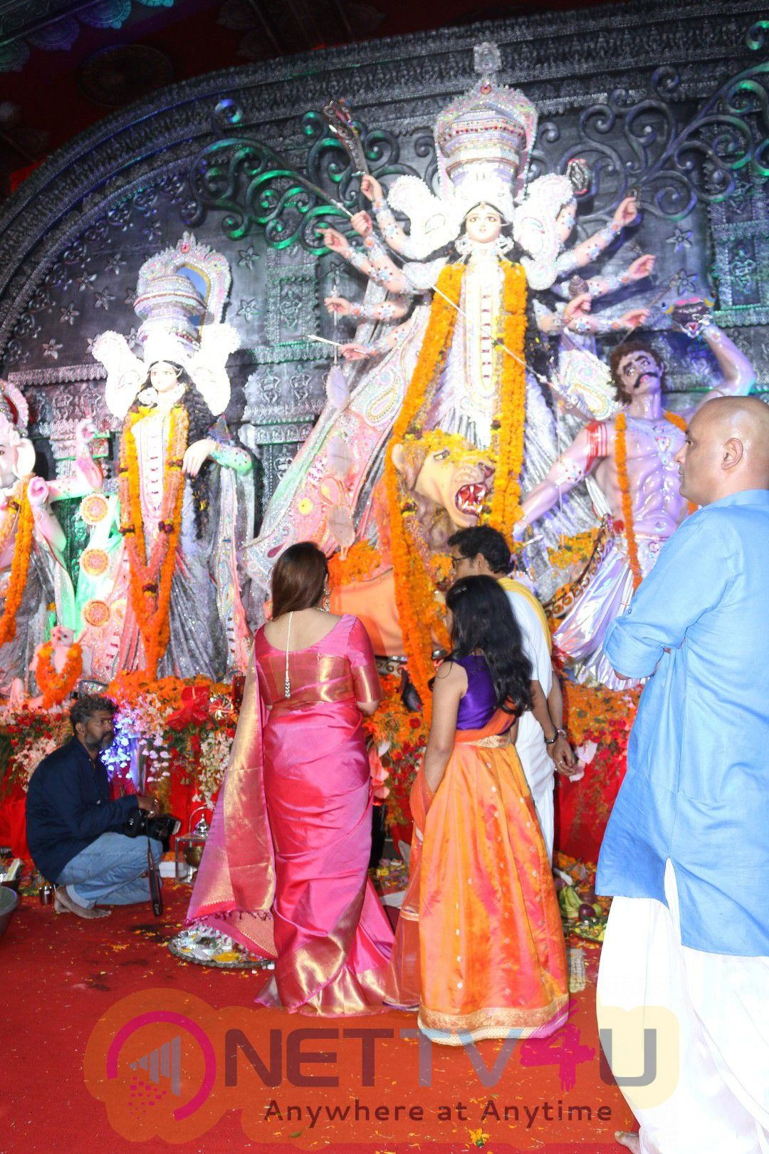 Many Celebs Attend Durga Pooja Located Tulip Star For Blessing Photos