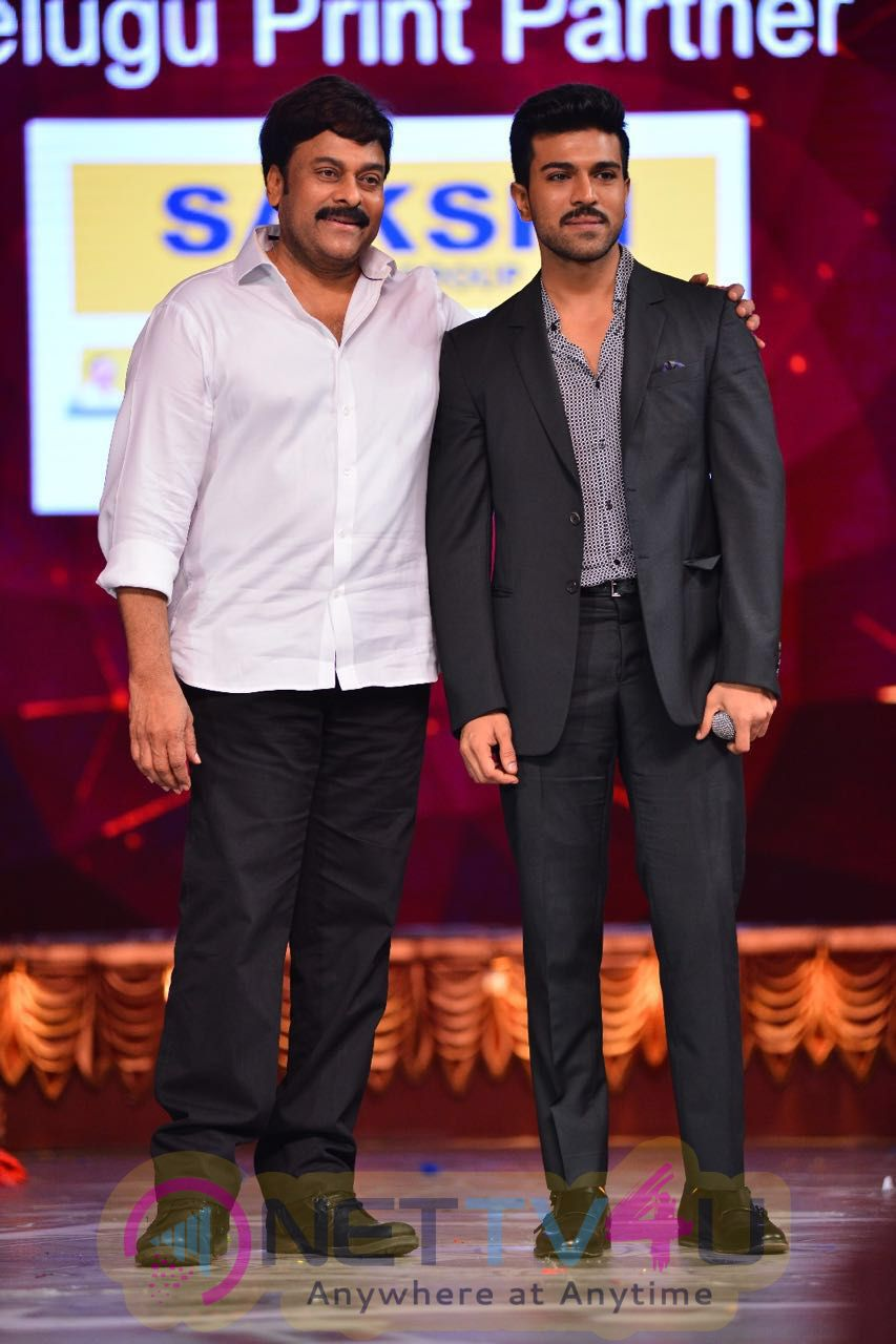 Megastar Chiranjeevi & Ram Charan Best Moment At CineMAA Awards Beauteous Photos