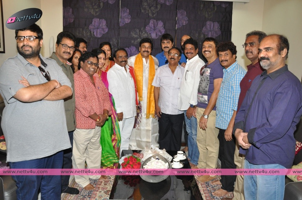 MAA [Movie Artistes Association] Felicitated Chiranjeevi At House On His Birthday