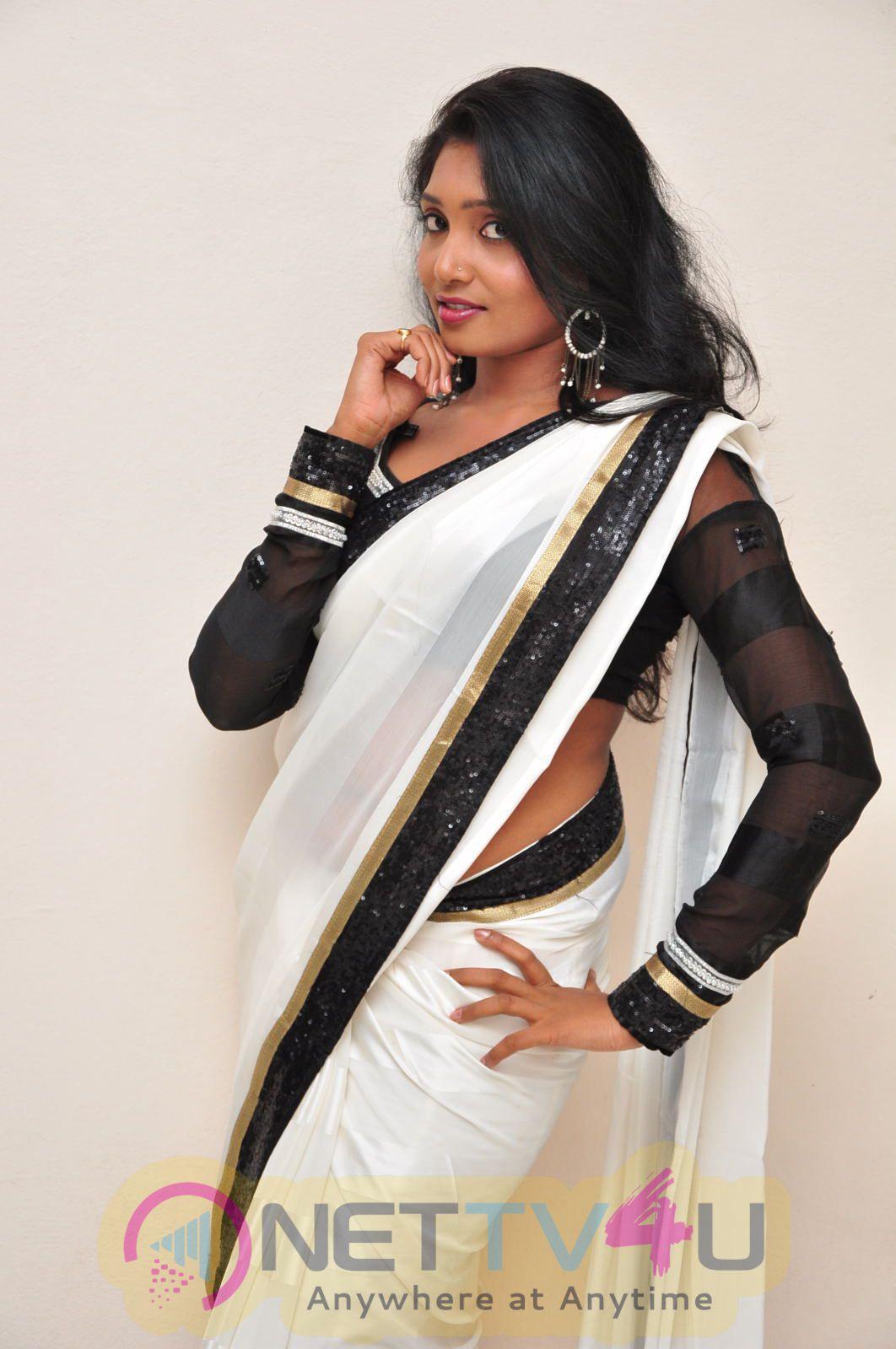 Nisha Latest Photos In Black And White Saree