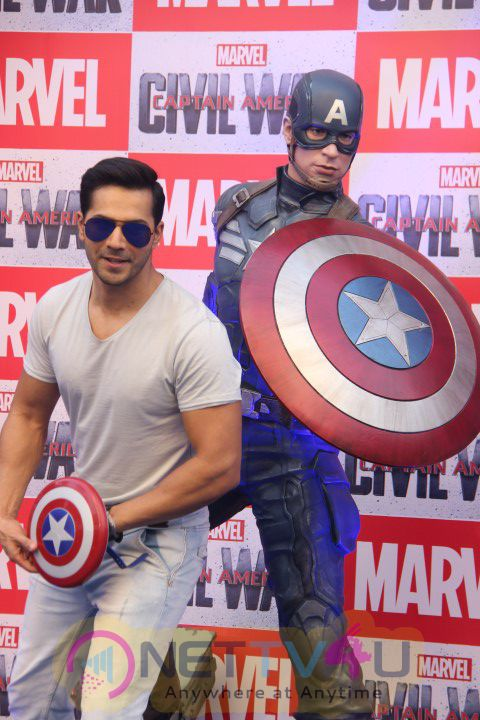 Photos Of Varun Dhawan Unveils & Launches The Special Captain America Figurines Flown UNCUT