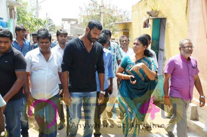 Photos Of Vishal To Build Five Common Toilets For Rajapalayam Villagers