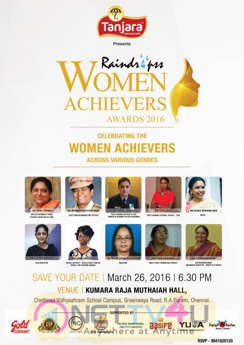 Press Invitation : Raindropss 4th Annual WOMEN ACHIEVER AWARDS Celebrating Women Achievers Across Various Genres On 26th March - Saturday