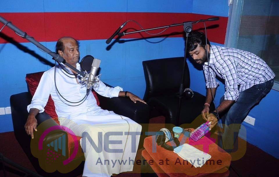 Superstar Rajinikanth Kabali Movie Dubbing Started Today Stills