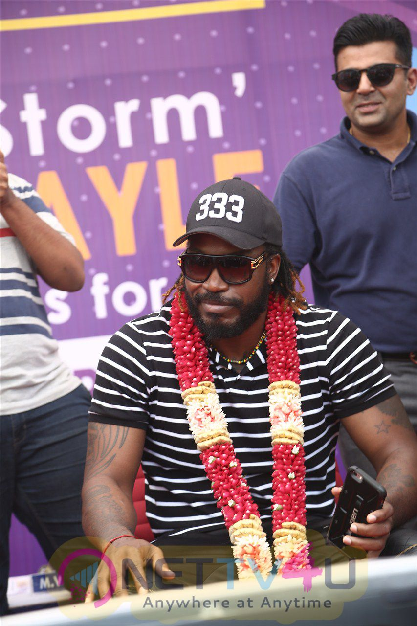 West Indies Cricketer Chris Gayle Visited Velammal School Photos