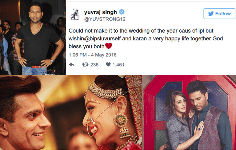 Yuvraj Singh Apologizes For Not Being Able To Attend The Wedding Of Bipasha And Karan